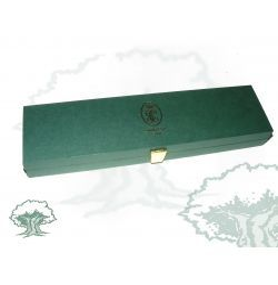 Caja-Estuche ALARGADA MEDALLA verde serigrafiada ORO GC
