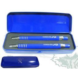 Estuche metálico azul con dos boligrafos serigrafiados GUARDIA CIVIL